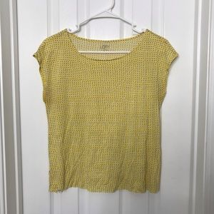The Loft Yellow Polka Dot Short Sleeve Shirt